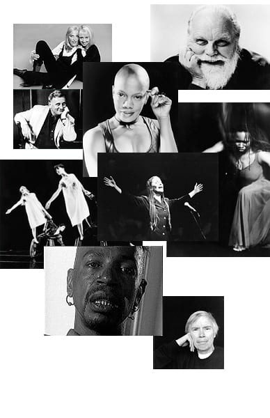 Grid of black and white portraits of queer artists