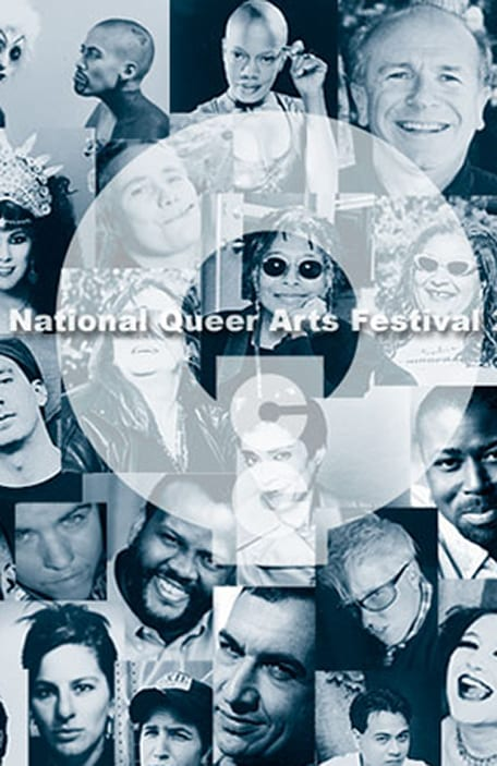 Grid of LGBTQ artist portraits in black and white text says National Queer Arts Festival