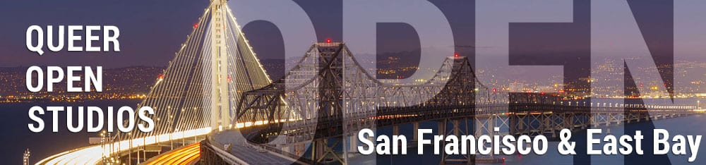 Queer Open Studios Banner Ad with picture of the Bay Bridge.