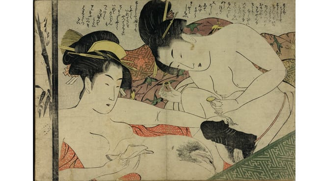 "'From the other side of the world and almost two millennia later, Japanese prints include many erotic scenes with a range of desires. This print by the artist Chokyosai Eiri shows two ladies preparing to anoint a large sex toy with ointment. One says, ""Hurry up and put it in!""'"