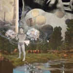 """David King Wandering in the Wilderness Collage 16 x 9"""" 2008"""