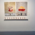 """Valerie Jacobs Untitled (Tin Drum, Cherry Pie & Installation) 2005 Oil on canvas, flies, figures, paper & shelf overall 47"""" x 64"""""""