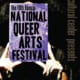 Person with black curly hair holding a sign in front of their faces that says the 19th annual national queer arts festival