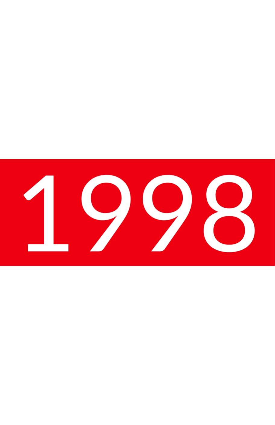 Orange rectangle white text: 1998