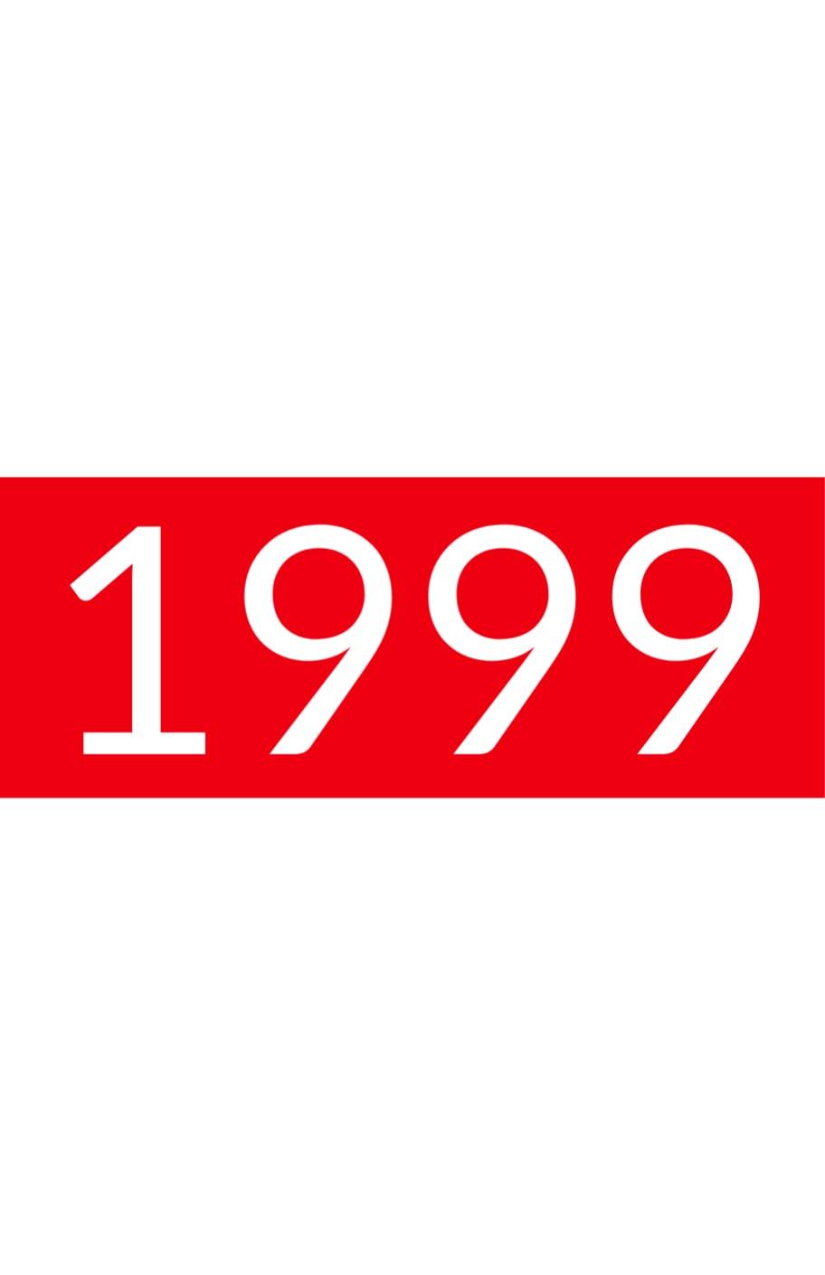 Orange background with white text: 1999