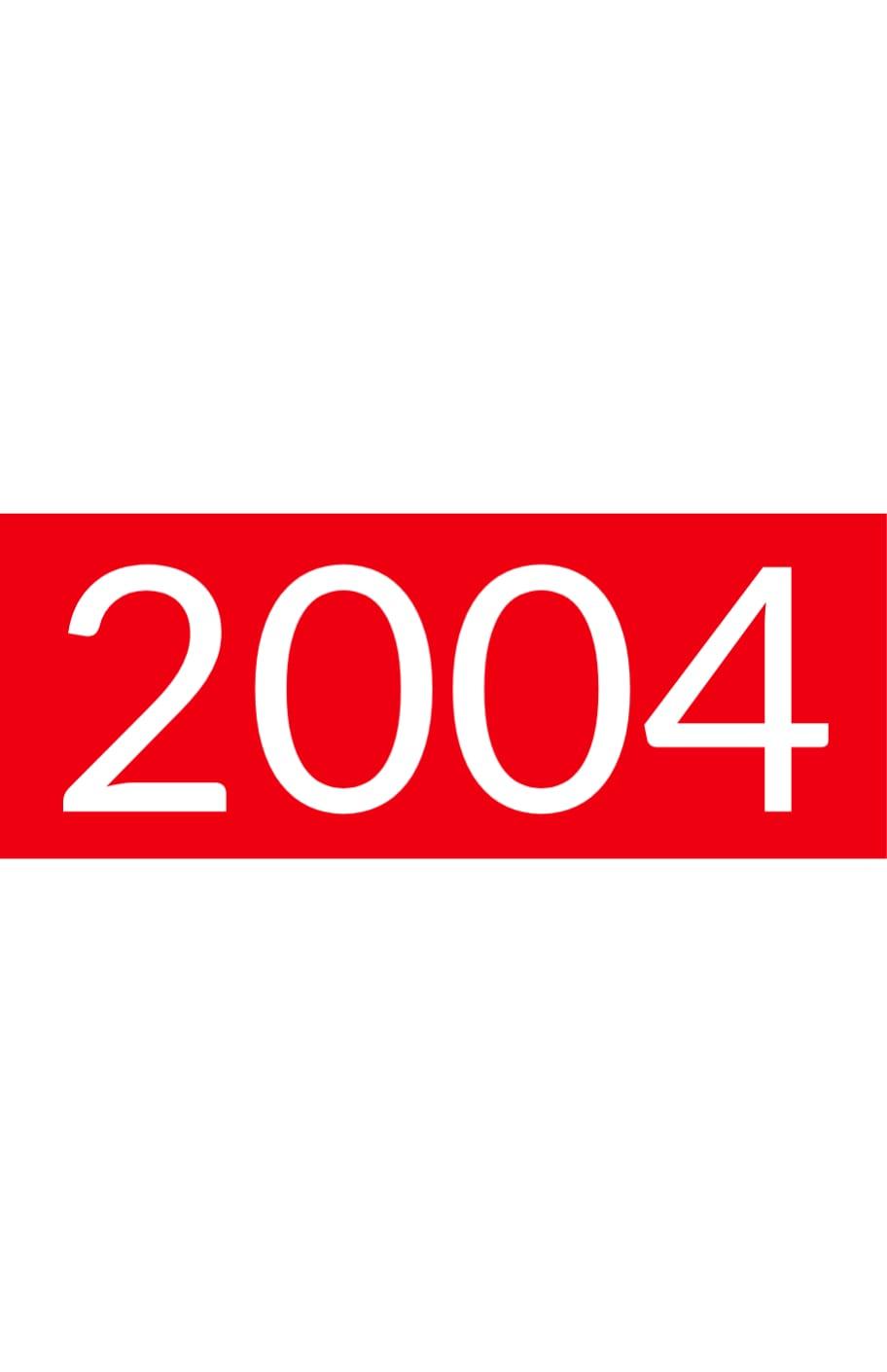 Orange rectangle with white text: 2004