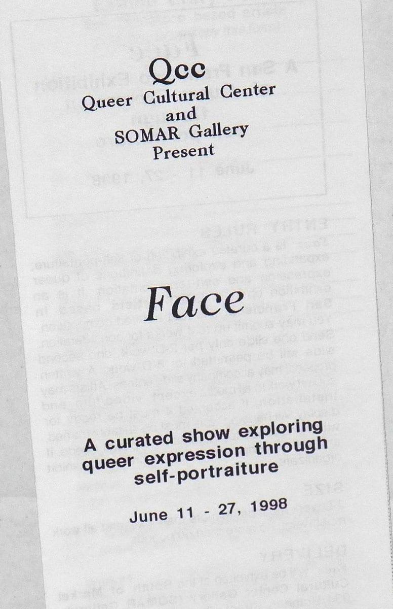 Photograph of brochure that says Face A curated show exploring queer expression through self-portraiture