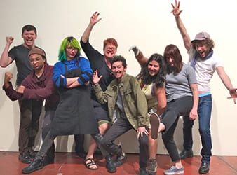 Photo of young artists with Katie Gilmartin