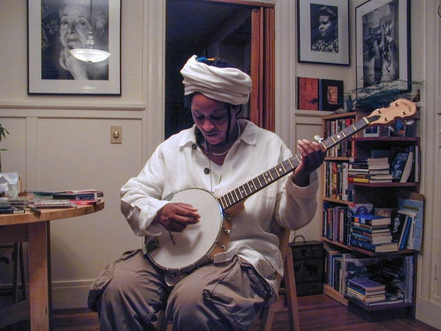 photo of jean weissenger playing banjo