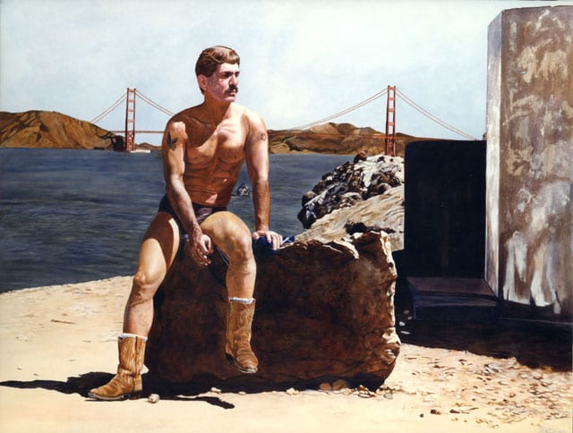 painting of gay man sitting on a rock at lands end