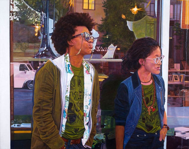 painting of 2 african american and asian america women