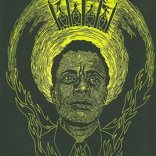 Woodblock print of James Baldwin by Joan Chen