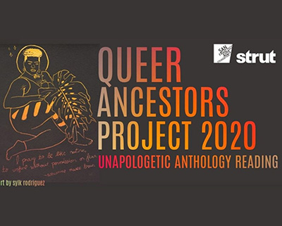 Line drawing Illustration of curvy person with short curly hair and large palm leaf text says Queer Ancestors Project 2020 Unapologetic anthology reading