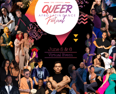 Flyer with queer dancers and artists for the Queer Afro Latin Dance Festival